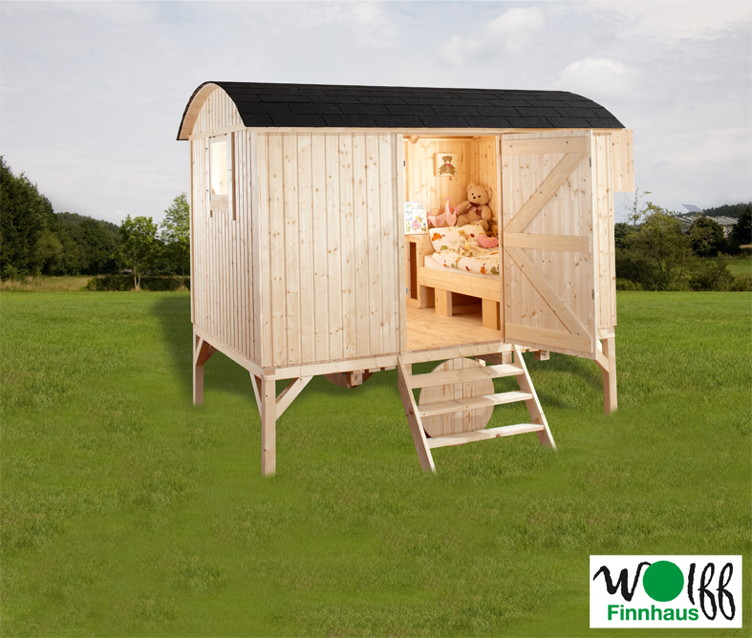 kinderspielhaus wolff camping bauwagen holz stelzen gartenhaus gartenspielhaus vom. Black Bedroom Furniture Sets. Home Design Ideas