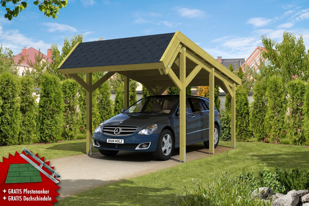 holz carport skanholz harz pultdach einzelcarport. Black Bedroom Furniture Sets. Home Design Ideas