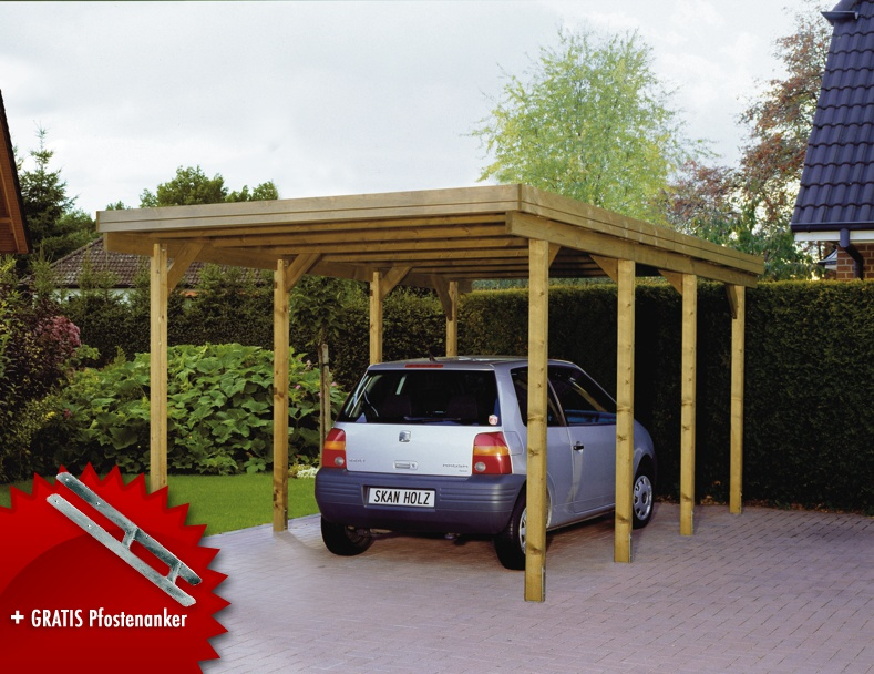 holz carport skanholz lausitz flachdach einzelcarport. Black Bedroom Furniture Sets. Home Design Ideas
