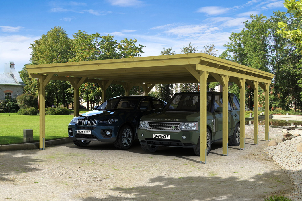 holz carport skanholz holstein flachdach doppelcarport vom spielger te fachh ndler. Black Bedroom Furniture Sets. Home Design Ideas