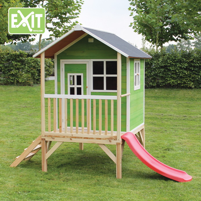 kinder spielhaus flaches stelzen kinderspielhaus stelzenhaus natur klein rutsche kaufen im. Black Bedroom Furniture Sets. Home Design Ideas