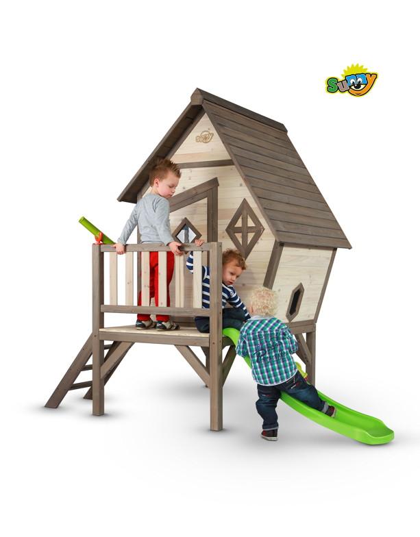 kinder spielhaus sunny cabin xl stelzenhaus holz rutsche comicstil kaufen im holz. Black Bedroom Furniture Sets. Home Design Ideas