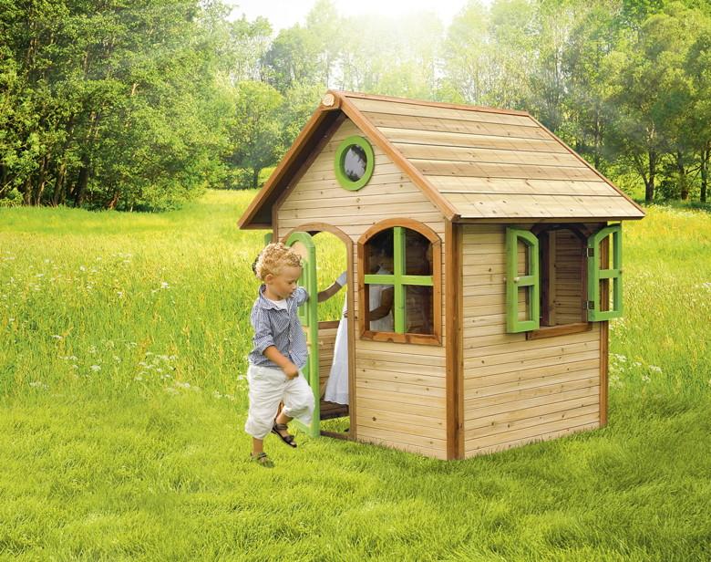 holz kinder spielhaus gartenspielhaus mit t r fenster. Black Bedroom Furniture Sets. Home Design Ideas