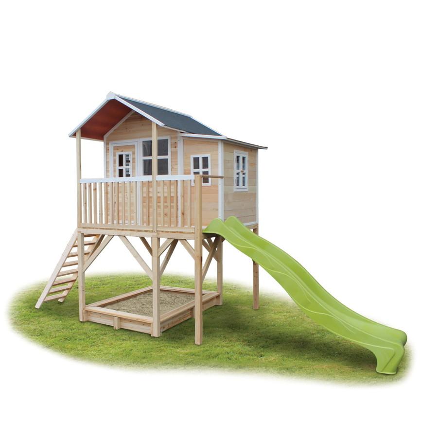 Super Holz-Kinder-Spielhaus Stelzen-Spielhaus Stelzenhaus natur Rutsche WZ45