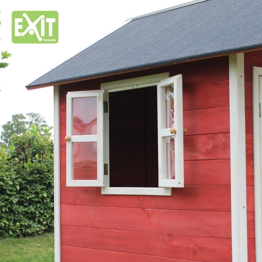 holz kinder spielhaus klein kinderspielhaus holzhaus rot gebeizt t r fenster vom spielger te. Black Bedroom Furniture Sets. Home Design Ideas