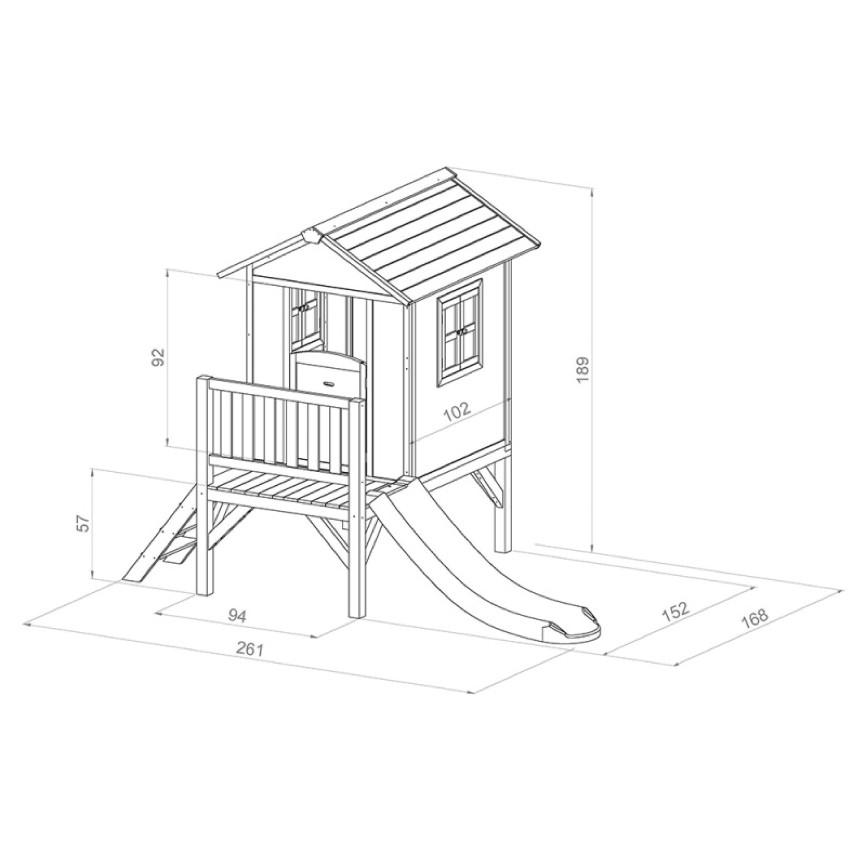 kinder spielhaus beachstyle lodge xl blau stelzenhaus holz rutsche terrasse kaufen im holz. Black Bedroom Furniture Sets. Home Design Ideas