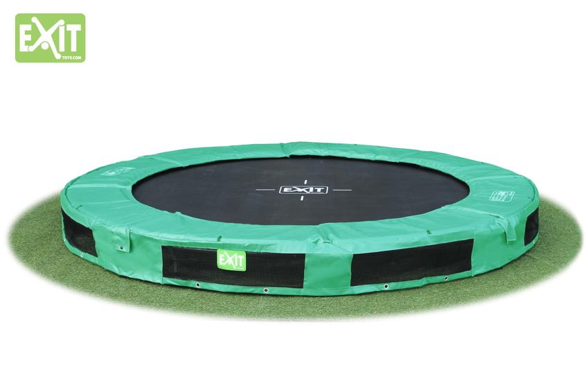 kinder trampolin exit interra gr n trampolin bodentrampolin kaufen im holz online shop. Black Bedroom Furniture Sets. Home Design Ideas