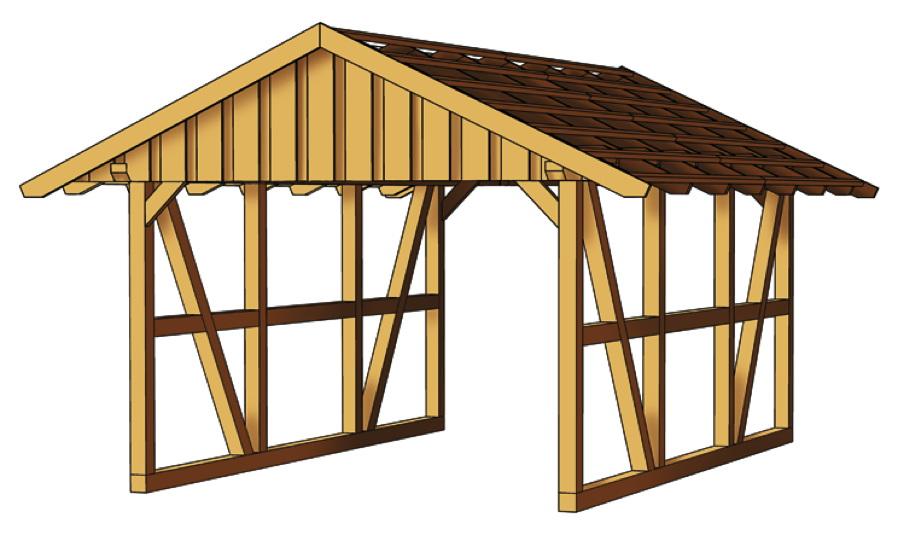 Holz carport skanholz schwarzwald fachwerk einzelcarport for Fachwerk verbindungen