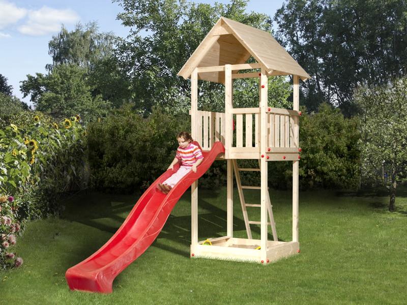 holz spielturm mit rutsche und schaukel top jungle gym. Black Bedroom Furniture Sets. Home Design Ideas
