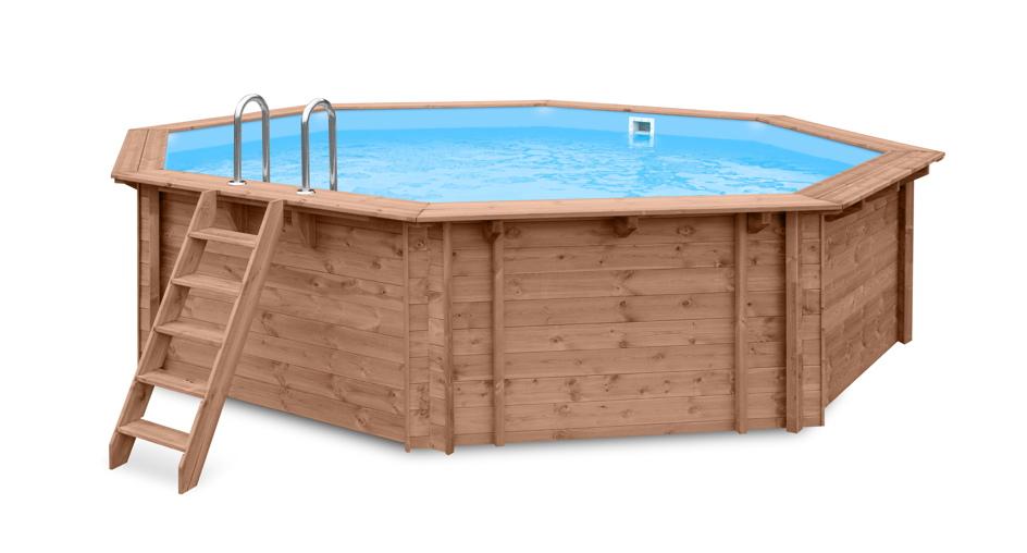 Garten holzpool schwimmbecken swimmingpool 8 eck for Gartenpool mit pumpe