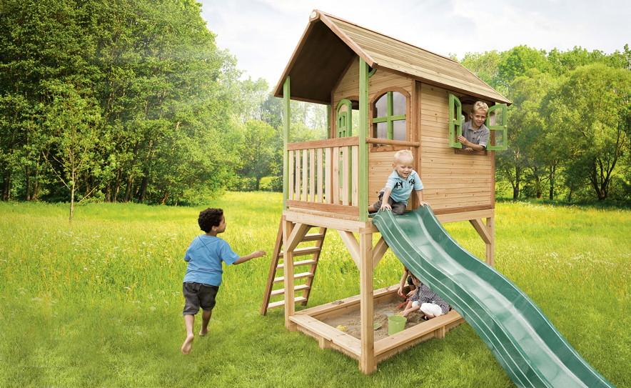 stelzen spielhaus hohes kleines kinderspielhaus holz rutsche sandkiste lasiert kaufen im holz. Black Bedroom Furniture Sets. Home Design Ideas
