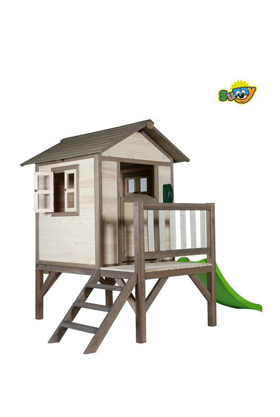 kinder spielhaus sunny lodge xl stelzenhaus holz rutsche terrasse kaufen im holz. Black Bedroom Furniture Sets. Home Design Ideas
