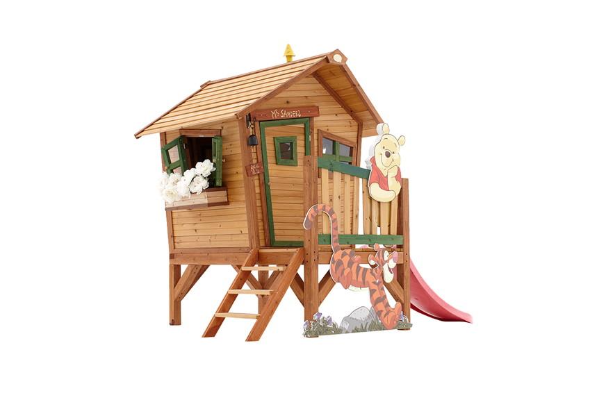 Holz-Kinder-Spielhaus klein & flach Kinderspielhaus Comic-Stelzenhaus Rutsche | Kaufen im Holz ...