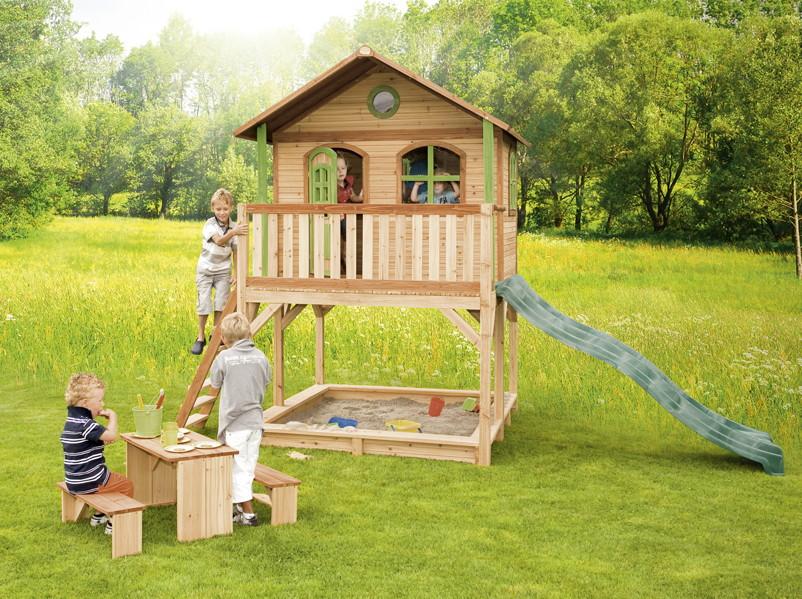 holz kinderspielhaus auf stelzen sandkasten garten 173x113cm haus innenma kaufen im holz haus. Black Bedroom Furniture Sets. Home Design Ideas