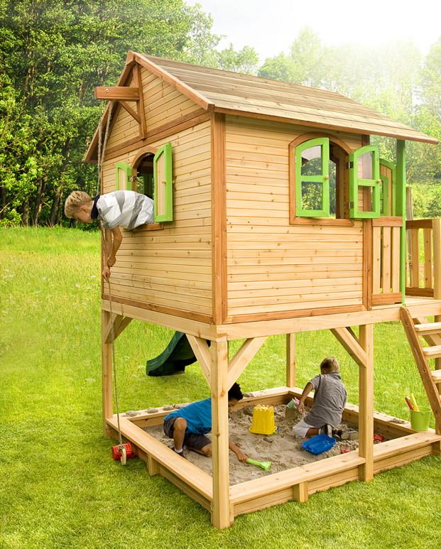 Sandkasten Mit Dach Absenkbar Kinder Metradirektde: Holz-Kinderspielhaus Auf Stelzen Sandkasten Garten