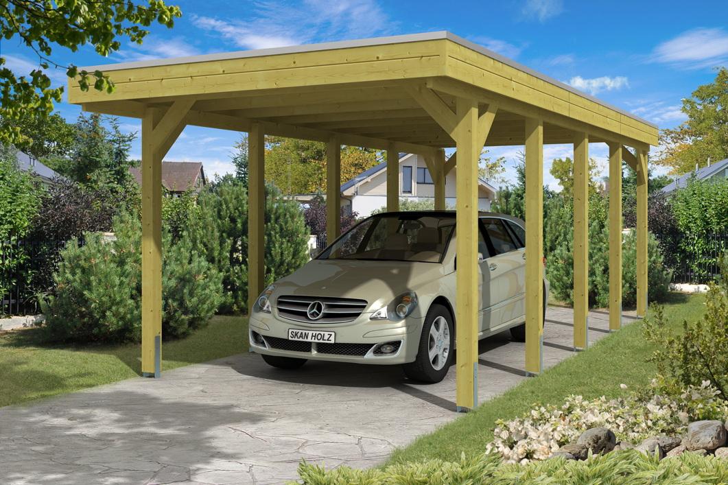 holz carport bausatz skanholz friesland aluminiumdach flachdach einzelcarport kaufen im holz. Black Bedroom Furniture Sets. Home Design Ideas