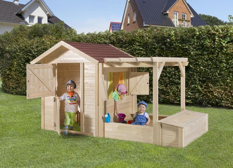Kinderspielhaus Holz Natur Mit Sandkasten Und Pergola ~ Holz Spielhaus WEKA «Tabaluga Drachenhöhle inkl Sandkasten, Pergola